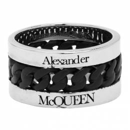 Alexander McQueen Silver and Black Chain Ring 599979J160K