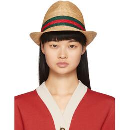 Gucci Beige Straw Web Hat 434760 K0M00