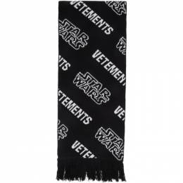 Vetements Black and White STAR WARS Edition All Over Logo Scarf USW21KN042