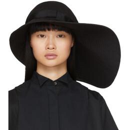 Sacai Black Wide Brim Beach Hat 20-0069S