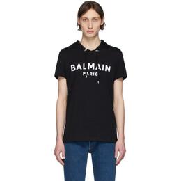 Balmain Black Logo Short Sleeve Hoodie TH11180I228
