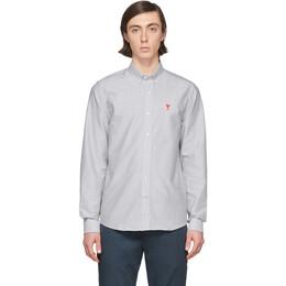 Ami Alexandre Mattiussi White and Black Oxford Ami De Coeur Shirt P20HC013.403