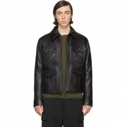 Ami Alexandre Mattiussi Black Leather Blouson Jacket P20HL200.526