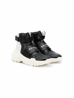 Balmain Kids высокие кроссовки на липучках 6M0606MX360