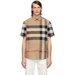 Burberry Beige Check Slim Short Sleeve Shirt 8017322