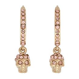 Alexander McQueen Gold and Pink Mini Skull Hoop Earrings 550503J160K