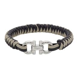 Salvatore Ferragamo Grey and Navy Gancini Bracelet 770194 0727172