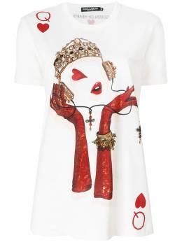 Dolce&Gabbana Queen Playing Card print T-shirt F8H50TFH7U9