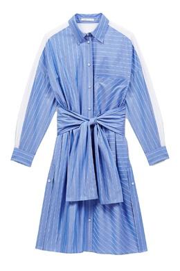 Синее платье-рубашка в полоску Maje 888182073
