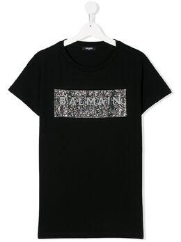 Balmain Kids футболка с декорированным логотипом 6M8001MA030930