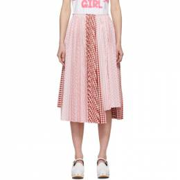 Comme Des Garcons Girl Pink and White Gingham Pleated Skirt ND-S015-051