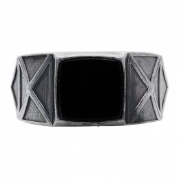 Emanuele Bicocchi Silver and Black Square Stone Ring RMA1