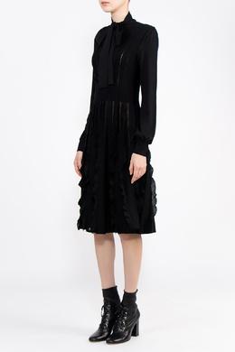 Черное платье с фактурной отделкой Valentino 210182122