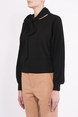 Черная блузка с бантом Chloe 360182244