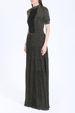 Золотистое платье с драпировкой из сетки Vionnet 58182745