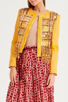 Желтая куртка с декором Elisabetta Franchi 1732156079
