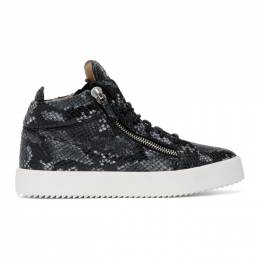 Giuseppe Zanotti Design Grey Python May Kriss High Top Sneakers RU70009 84844