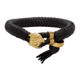 Versace Black and Gold Medusa Braided Bracelet DG06977 DMTN8