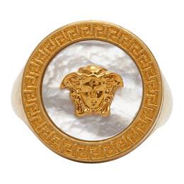 Versace Gold Pearl Medusa Signet Ring DG5G635 DJMTD