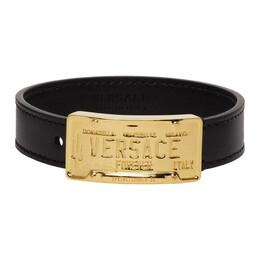 Versace Black and Gold Leather Bracelet DG08037 DMTN