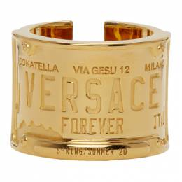 Versace Gold License Plate Ring DG58038 DJMT
