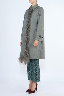 Серое платье-плащ с отделкой из перьев Prada 40182598