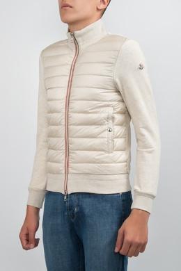 Комбинированная куртка бежевого цвета Moncler 34182639