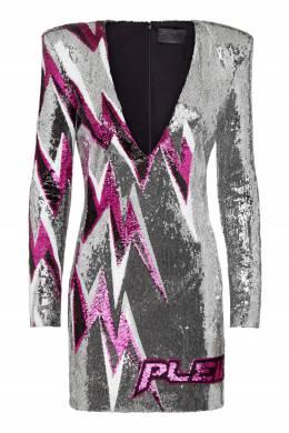 Серебристое мини-платье Philipp Plein 1795182906