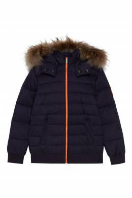Синяя куртка со съемным капюшоном Bikkembergs 1487183076