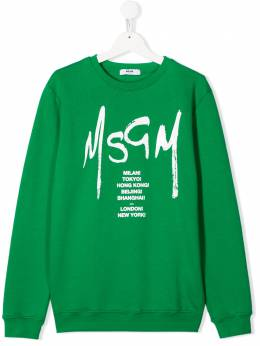 Msgm Kids TEEN logo-print cotton sweatshirt 022082