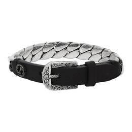 Gucci Black and Silver Small Gucci Garden Bracelet 599808 J7648
