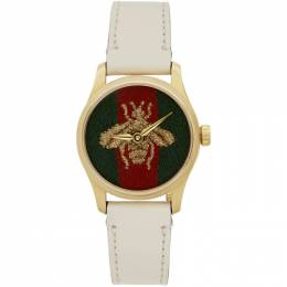 Gucci White G-Timeless Bee Watch YA1265009