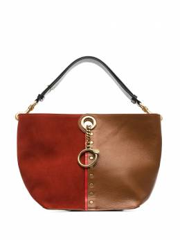 Chloe red and brown Gaia leather and suede tote S19WSA32631