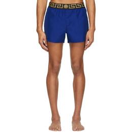 Versace Underwear Blue Greek Key Swim Shorts ABU01022 A232415