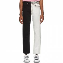 Alexander Wang White and Black Bicolor Five-Pocket Jeans 6WC1204002