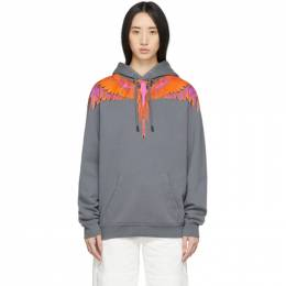 Marcelo Burlon County Of Milan Grey and Orange Wings Hoodie CMBB007R20FLE0011125