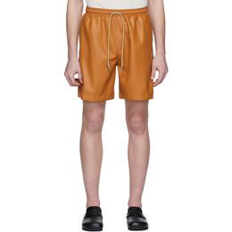 Nanushka Orange Vegan Leather Doxxi Shorts M_SH_00014