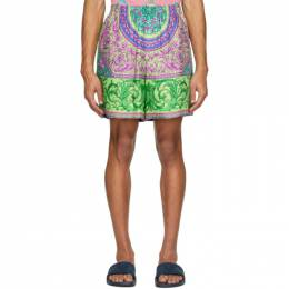 Versace Green and Multicolor Silk Shorts A84097 A233838