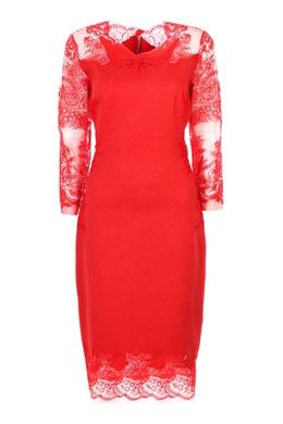 Красное платье-футляр с кружевом Ermanno Scervino 1328183167