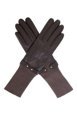 Комбинированные перчатки шоколадного цвета Sermoneta Gloves 2352183164