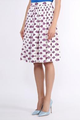 Белая принтованная юбка Prada 40182562