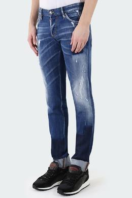 Темно-синие джинсы с потертостями и прорезями Dsquared2 1706183263