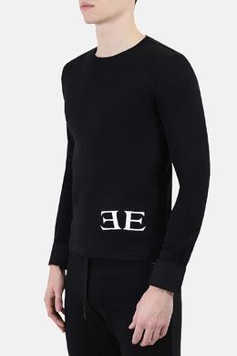 Черный джемпер с белым логотипом Ermanno Scervino 1328183259