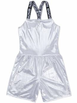Balmain Kids criss cross logo strap playsuit 6M0009MC490