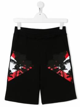 Neil Barrett Kids mirrored palm tree print shorts 024295