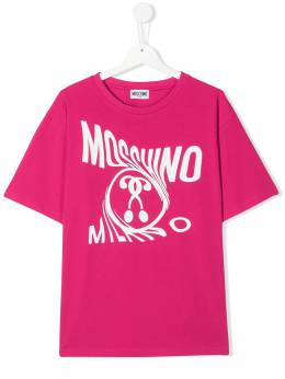 Moschino Kids TEEN twist logo print T-shirt HZM029LBA00