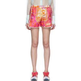 Emilio Pucci Orange and Pink Tiki Print Shorts 0EWU30-0E824