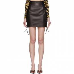 Versace Black Leather Laced Miniskirt A85894 A228849