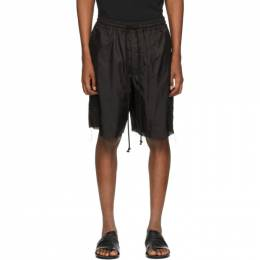 Song For The Mute Black Lined Elasticated Shorts 201_MST050L_GLENBLK