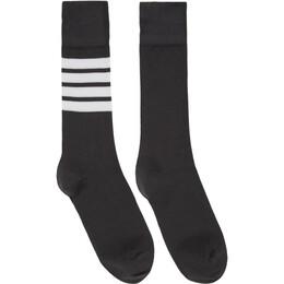 Thom Browne Grey 4-Bar Mid-Calf Socks FAS020B-01690